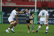 James Hook of the Ospreys © holds off Peceli Yato (l) of Clermont Auvergne.  European Rugby Champions Cup, pool 2 match, Ospreys v ASM Clermont Auvergne at the Liberty Stadium in Swansea, South Wales on Sunday 15th October 2017.<br /> pic by  Andrew Orchard, Andrew Orchard sports photography.
