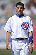 MESA, AZ - MARCH 6:  Kosuke Fukudome #1 of the Chicago Cubs looks on during the game against the Chicago White Sox on March 6, 2010 at HoHoKam Park in Mesa, Arizona. (Photo by Ron Vesely)
