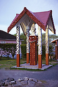 Queen Victoria memorial monument at Ohinemutu Maori Village, Rotorua, New Zealand 1974
