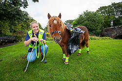 Sarah Harrison with Glen, her Shetland Pony, that she takes out for walks. They help pick up litter at St Vigeans, near Arbroath.