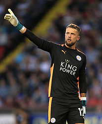 """Leicester City goalkeeper Ben Hamer during the Carabao Cup, Second Round match at Bramall Lane, Sheffield. PRESS ASSOCIATION Photo. Picture date: Tuesday August 22, 2017. See PA story SOCCER Sheff Utd. Photo credit should read: Tim Goode/PA Wire. RESTRICTIONS: EDITORIAL USE ONLY No use with unauthorised audio, video, data, fixture lists, club/league logos or """"live"""" services. Online in-match use limited to 75 images, no video emulation. No use in betting, games or single club/league/player publications."""