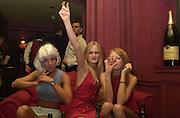 Natasha Kaye, Alexia Inge and Olivia Inge.Toni & Guy/M & P models party. Mayfair Club. 7 December 2000. © Copyright Photograph by Dafydd Jones 66 Stockwell Park Rd. London SW9 0DA Tel 020 7733 0108 www.dafjones.com