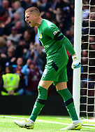 Sam Johnstone, goalkeeper  of Aston Villa celebrates after team mate Gabriel Agbonlahor scores a goal and makes it 1-0.  EFL Skybet championship match, Aston Villa v Birmingham city at Villa Park in Birmingham, The Midlands on Sunday 23rd April 2017.<br /> pic by Bradley Collyer, Andrew Orchard sports photography.
