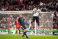 England (9) Jamie Vardy, Germany (16) Rüdiger during the Friendly match between England and Germany at Wembley Stadium, London, England on 10 November 2017. Photo by Sebastian Frej.