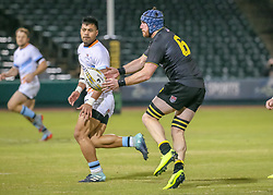 January 11, 2019 - Sugar Land, TX, U.S. - SUGAR LAND, TX - JANUARY 11:  Houston SaberCats flanker Chris Coyle (6) passes the ball during the pre-season exhibition rugby match between the Houston SaberCats flanker Chris Coyle (6) passes the ball Austin Elite and Houston SaberCats on January 11, 2019 at Constellation Field in Sugar Land, Texas.  (Photo by Leslie Plaza Johnson/Icon Sportswire) (Credit Image: © Leslie Plaza Johnson/Icon SMI via ZUMA Press)