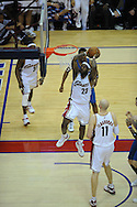 The Washington Wizards defeated the Cleveland Cavaliers 88-87 in Game 5 of the First Round of the NBA Playoffs, April 30, 2008 at Quicken Loans Arena in Cleveland..LeBron James of Cleveland goes up for a slam dunk.