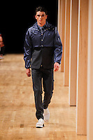 A model walks the runway wearing Perry Ellis Spring 2015 during Mecedes-Benz Fashion Week in New York on September 4th, 2014
