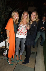 Left to right, HOLLY JOHNSTONE, NATHALIE BURGEN and WILLOW CORBETT-WINDER at Stelle d'Italia - a celebration of Italian design, fashion and style at The Roof Gardens, 99 Kensington High Street, London on 22nd September 2006.<br />