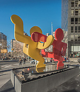 Street art is the installation in the South Ferry section of Lower Manhattan, New York City.