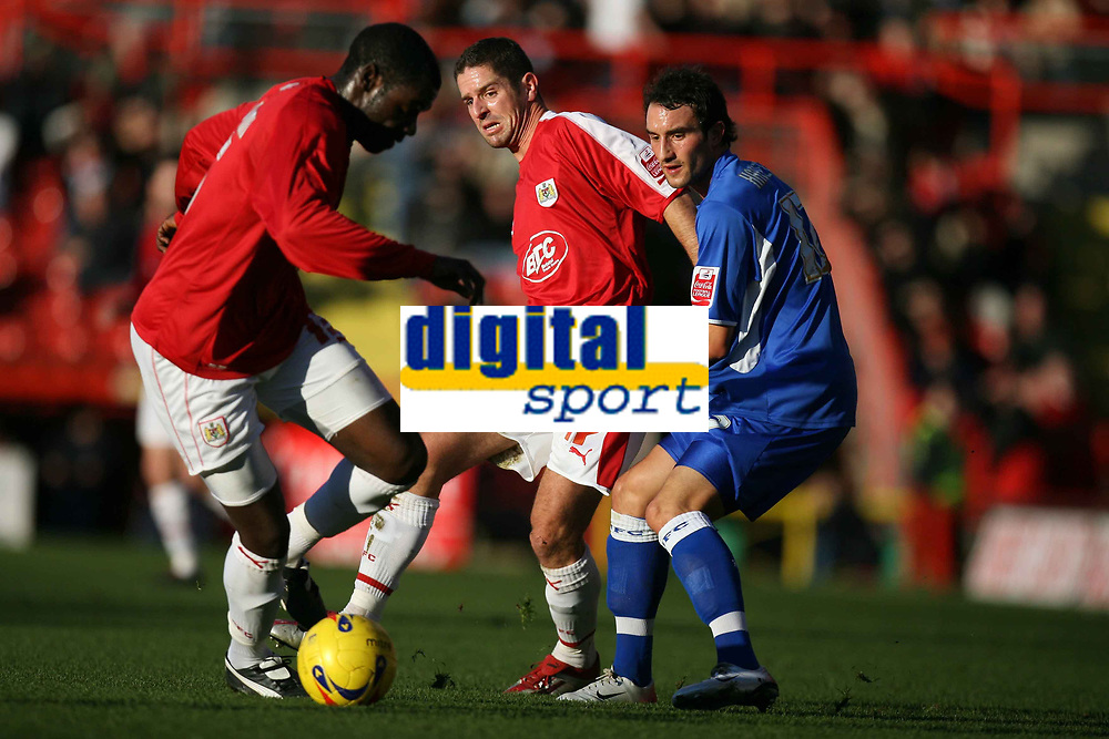 Photo: Rich Eaton.<br /> <br /> Bristol City v Millwall. Coca Cola League 1. 16/12/2006. Alex Russell #17 plays a through ball for Encoh Showunmi of Bristol