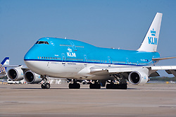 KLM jetliners preparing to depart Houston's Intercontinental Airport