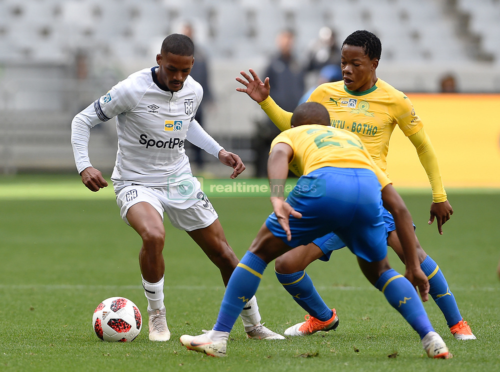 Cape Town-180825- Cape Town City player Craig Martin  challenged by  Mamelodi Sundowns Sphelele Mkhulise and  defender Lyle Lakay in the MTN 8 semi-final at Cape Town Stadum.Photographer :Phando Jikelo/African News Agency/ANA