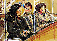 ©PRISCILLA COLEMAN ITV NEWS 20.04.04.PIC SHOWS: (L-R) JOYTI DE-LAUREY, FORMER GOLDMAN SACHS PA, TONY DE-LAUREY AND JOYTI'S MOTHER, DEVI DE-SCHAHHOU (SEEN CLASPING HER FACE IN SORROW) WHO WERE ALL FOUND GUILTY OF RESPECTIVE CHARGES RELATING TO THE THEFT OF £4.5 MILLION FROM JOYTI DE-LAUREY'S FORMER EMPLOYERS, GOLDMAN SACHS TO FUND A LAVISH LIFESTYLE-SEE STORY.ILLUSTRATION: PRISCILLA COLEMAN ITV NEWS