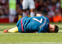 Football - 2018 / 2019 Premier League - Arsenal vs. West Ham United<br /> <br /> Marko Arnautovic (West Ham United) lies injured shortly before he is taken off at The Emirates.<br /> <br /> COLORSPORT/DANIEL BEARHAM