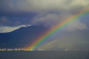 Rainbow over the Mediterranean Sea. Photographed at Poros is a small Greek island-pair in the southern part of the Saronic Gulf, Greece in November