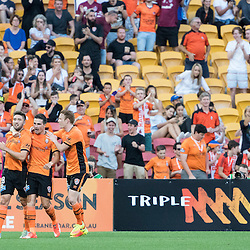 BRISBANE, AUSTRALIA - OCTOBER 30: Brandon Borrello of the roar celebrates with Jamie MacLaren and Corey Brown after scoring a goal during the round 4 Hyundai A-League match between the Brisbane Roar and Perth Glory at Suncorp Stadium on October 30, 2016 in Brisbane, Australia. (Photo by Patrick Kearney/Brisbane Roar)
