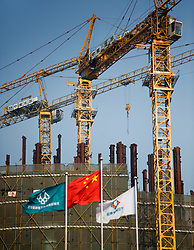 Construction site with tower cranes in Central Business District of Beijing 2009