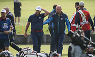 Thomas Bjorn (Team Europe Captain) comforts Jon Rahm (Team Europe) loses on the 18th during Friday's Fourballs, at the Ryder Cup, Le Golf National, Îls-de-France, France. 28/09/2018.<br /> Picture David Lloyd / Golffile.ie<br /> <br /> All photo usage must carry mandatory copyright credit (© Golffile | David Lloyd)