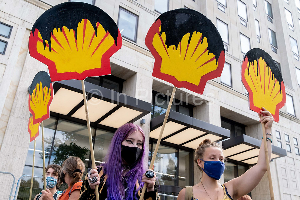 Climate Change and environmental activists from Extinction Rebellion, protest outside petrochemical corporation, Shell on Londons Southbank, on 8th September 2020, in London, England. XR say that Shell is lobbying governments to extend the role of gas and the lifespan of the oil industry - jeopardising the Paris Agreement worldwide.