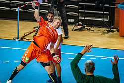 The Dutch handball player Patrick Miedema in action during the European Championship qualifying match against Turkey in the Topsport Center Almere.