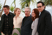 Robert Pattinson, Mia Wasikowska, director David Cronenberg, Julianne Moore and John Cusack at the photo call for the film Maps To The Stars at the 67th Cannes Film Festival, Monday 19th May 2014, Cannes, France.