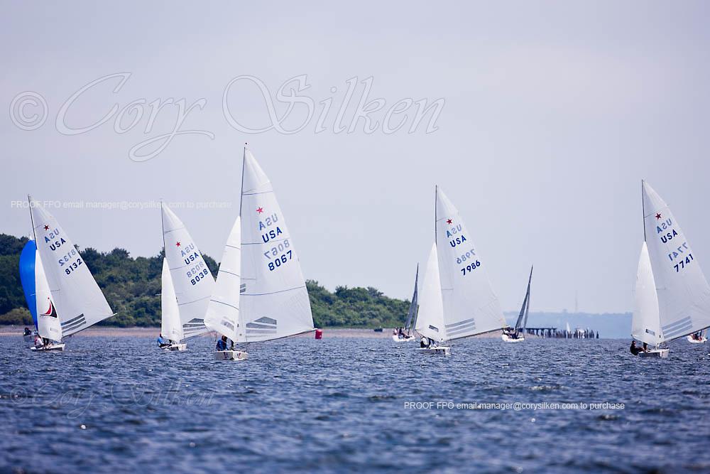 Tomas Hornos' Team Doyle leading the Star Class fleet downwind during Bacardi Newport Sailing Week, day 2.