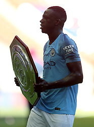 Manchester City'€™s Benjamin Mendy with the Community Shield
