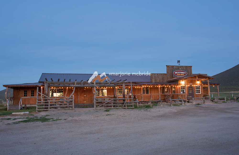 Sunrise at the Historic Almo Outpost Inn and Restaurant buildings in Almo,  near the City of Rocks, Southern Idaho.