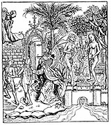 Adam and Eve, tempted by the Serpent, eat from the Tree of Knowledge and are expelled from the Garden of Eden by the Angel of the Lord. Woodcut from Hartmann Schedel 'Liber chronicarum mundi' (Nuremberg Chronicle) Nuremberg, 1493.