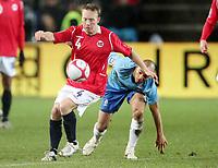 Fotball , 15. oktober 2008 , VM-kvalifisering , Norge - Nederland<br /> Norway - Netherlands 0-1<br /> Fredrik Winsnes , Norge og Demy de Zeeuw , Nederland