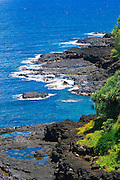 Lava coastline near Queen's Bath, Princeville, Island of Kauai, Hawaii