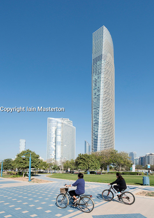 Modern office towers (Landmark Tower on the right)  along Corniche in Abu Dhabi United Arab Emirates