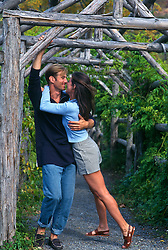 Couple being affectionate while standing in a wooden archway