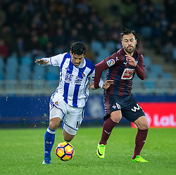 February 28, 2017 - San Sebastian, Spain - Match day of La Liga Santander 2016 - 2017 season between Real Sociedad and S.D Eibar, played Anoeta Stadium on Thuesday, March 28th, 2017. San Sebastian, Spain. 11 Carlos V, 19 A. Luna. (Credit Image: © Ion Alcoba/VW Pics via ZUMA Wire/ZUMAPRESS.com)