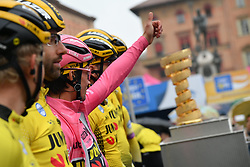 FUCECCHIO, ITALY - MAY 12: Start / Podium / Koen Bouwman of The Netherlands and Team Jumbo - Visma / Laurens De Plus of Belgium and Team Jumbo - Visma / Sepp Kuss of The United States and Team Jumbo - Visma / Tom Leezer of The Netherlands and Team Jumbo - Visma / Paul Martens of Germany and Team Jumbo - Visma / Antwan Tolhoek of The Netherlands and Team Jumbo - Visma / Primoz Roglic of Slovenia and Team Jumbo - Visma Pink Leader Jersey / Trofeo Senza Fine / Trophy / during the 102nd Giro d'Italia 2019, Stage 2 a 205km stage from Bologna to Fucecchio / Tour of Italy / #Giro / @giroditalia / on May 12, 2019 in Fucecchio, Italy.  Photo by Massimo Paolone/LaPresse