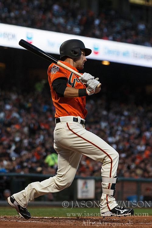 SAN FRANCISCO, CA - JULY 13: Steven Duggar #6 of the San Francisco Giants hits a double against the Oakland Athletics during the fourth inning at AT&T Park on July 13, 2018 in San Francisco, California. The San Francisco Giants defeated the Oakland Athletics 7-1. (Photo by Jason O. Watson/Getty Images) *** Local Caption *** Steven Duggar