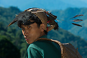Nyshi man<br /> Nyshi Tribe<br /> Arunachal Pradesh<br /> North East India