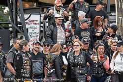 HOG members from Medellín, Columbia at the Harley-Davidson 115th anniversary celebration. Shown here at the HOG Moto-Carnival in Veterans Park. Milwaukee, WI. USA. Wednesday August 29, 2018. Photography ©2018 Michael Lichter.