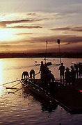Penrith - NSW - Australia Tel Penrith Lakes . Rowing Course: Penrith Lakes, NSW Sunrise, Sunsets, Silhouettes 2000 Olympic Regatta Sydney International Regatta Centre (SIRC)<br /> <br /> Eight preparing to boat for an early morning training session. <br /> <br /> [Mandatory Credit; Peter SPURRIER/Intersport Images] 2000 Olympic Rowing Regatta00085138.tif © Peter SPURRIER, Atmospheric, Rowing