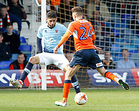 Blackpool's Kelvin Mellor chases down Luton Town's Lawson D'Ath<br /> <br /> Photographer David Shipman/CameraSport<br /> <br /> The EFL Sky Bet League Two - Luton Town v Blackpool - Saturday 1st April 2017 - Kenilworth Road - Luton<br /> <br /> World Copyright © 2017 CameraSport. All rights reserved. 43 Linden Ave. Countesthorpe. Leicester. England. LE8 5PG - Tel: +44 (0) 116 277 4147 - admin@camerasport.com - www.camerasport.com