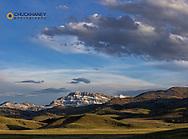 Fresh spring snow adorns Steamboat Mountain along the Rocky Mountain Front near Augusta, Montana, USA