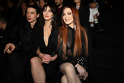 Ezra Miller, Actress Lindsay Lohan (R) and her sister Aliana Lohan attend the Saint Laurent show as part of the Paris Fashion Week Womenswear Fall/Winter 2019/2020 on February 26, 2019 in Paris, France. Photo by Laurent Zabulon/ABACAPRESS.COM