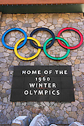 Olympic rings and sign at Squaw Valley, California