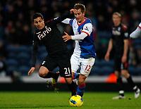 Football - Premiership - Blackburn Rovers vs. Fulham - Fulham's Kerim Frei and Blackburn's Morten Gamst Pederson battle at Ewood Park.