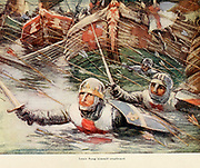 Louis Flung himself overboard [King Louis VII (1120 – 18 September 1180), called the Younger or the Young (French: le Jeune), was King of the Franks from 1137 to 1180. a Leader in the Second Crusade] colour plate from the book Jerusalem and the crusades by Blyth, Estelle Published in London by T.C. & E.C. Jack Circa 1913