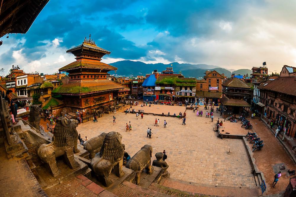 Taumadhi Square, Bhaktapur, Nepal seen from the Nyatapola Pagoda.