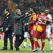 Real Madrid's coach Jose Mourinho (2ndL) and  Tebily Didier Yves Drogba (3ndR) during their UEFA Champions League Quarter-finals, Second leg match Galatasaray between Real Madrid at the TT Arena AliSamiYen Spor Kompleksi in Istanbul, Turkey on Tuesday 09 April 2013. Photo by Aykut AKICI/TURKPIX