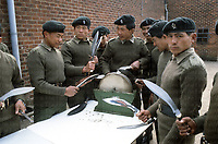 Members of the Gurkhas sharpen their deadly and famous Kukri blades. They are the only regiment in the British Army allowed to have these daggers in and out of battle. Originating from Nepal since the 7th century, Kukri blades are used for a wide variety of tasks, however many foe of the Gurkhas have fallen to these exceptional soldiers equipped with these deadly daggers.