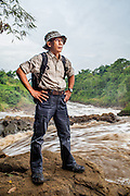 Portrait of Pak T. Bachtiar of Kelompok Riset CekunGga, KRCB  taken downstream the Citarum River where Gistex dump toxic wastes illegally.  Jelegong village, Kabupaten Bandung...Credit: Andri Tambunan for Greenpeace