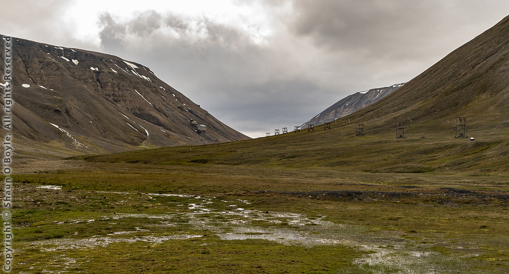 Mine 5 in distance with line of Cableway Towers, Endalen, Spitsbergen